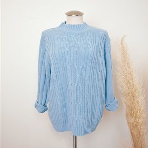 Vintage blue mock neck cable knit sweater
